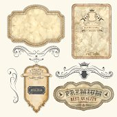 Set of vintage labels with old fashioned elements File organized in layers.