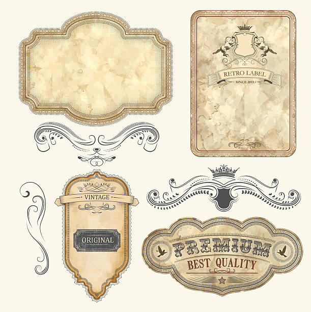 Set of Vintage Labels Set of vintage labels with old fashioned elements File organized in layers. obsolete stock illustrations