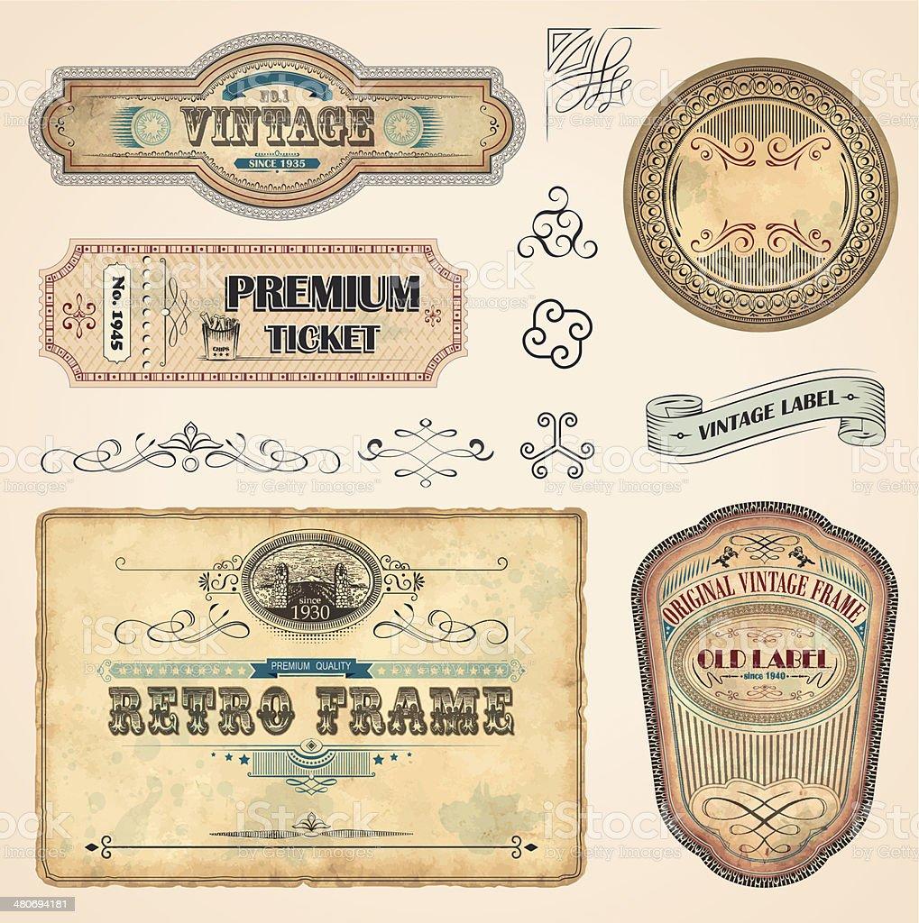 Set of Vintage Labels royalty-free stock vector art