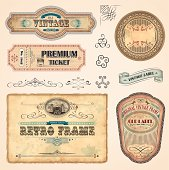 Set of vintage labels with old fashioned elements File organized in layers. EPS 10 with transparency