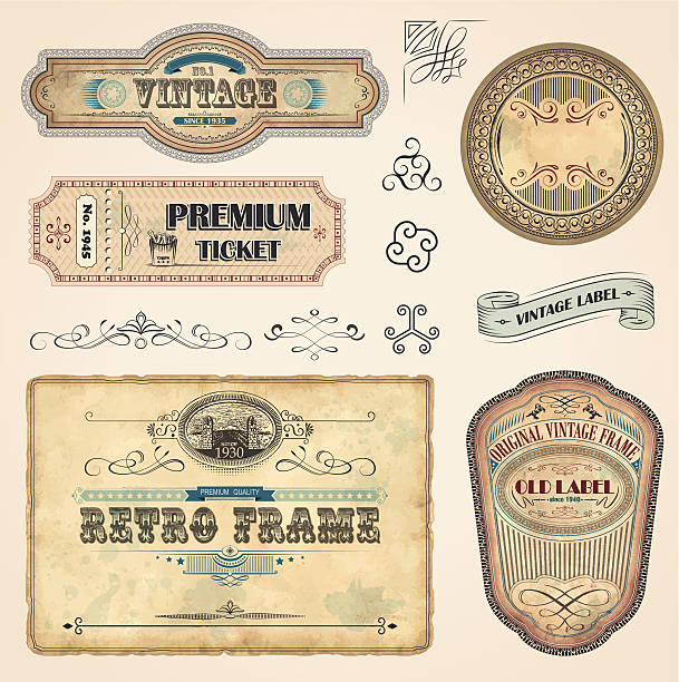 Set of Vintage Labels Set of vintage labels with old fashioned elements File organized in layers. EPS 10 with transparency obsolete stock illustrations