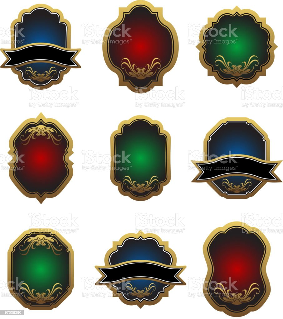 Set of vintage labels royalty-free set of vintage labels stock vector art & more images of coat of arms