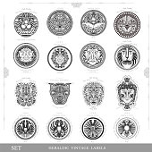 Set of vintage labels with lion eagle and man faces in engraving style