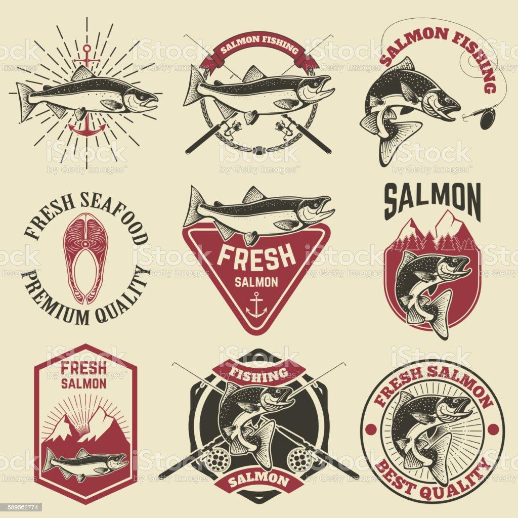 Set of vintage labels with salmon fish. Salmon fishing, salmon vector art illustration