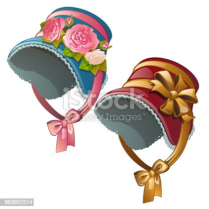 A set of vintage ladies hats isolated on a white background. Cartoon vector.