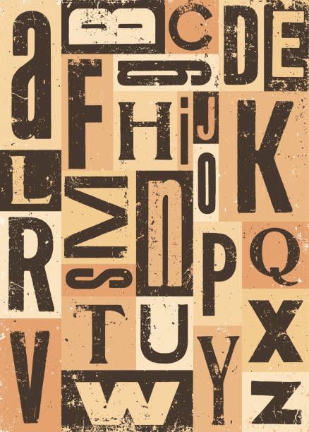 ilustraciones, imágenes clip art, dibujos animados e iconos de stock de conjunto de bloques de letras vintage - font