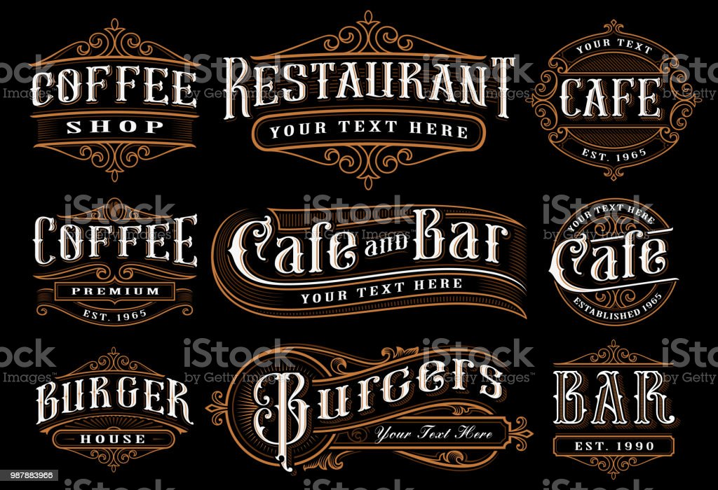 Set of vintage lettering illustration for the catering