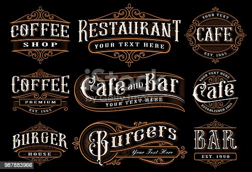 Set of vintage lettering illustration for the catering. Vector design for the restaurants, cafe, bar, coffee shops and other. All objects are on the separate groups.