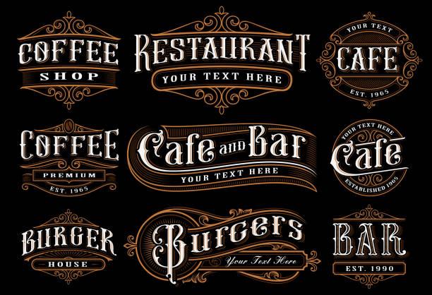 빈티지 레터링은 음식에 대 한 그림의 세트 - 오래된 stock illustrations