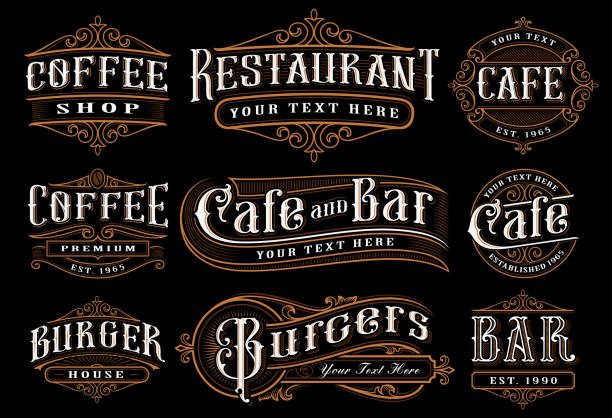 set of vintage lettering illustration for the catering - restaurant logos stock illustrations, clip art, cartoons, & icons