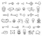 Set of vintage locks and keys. Doodles.