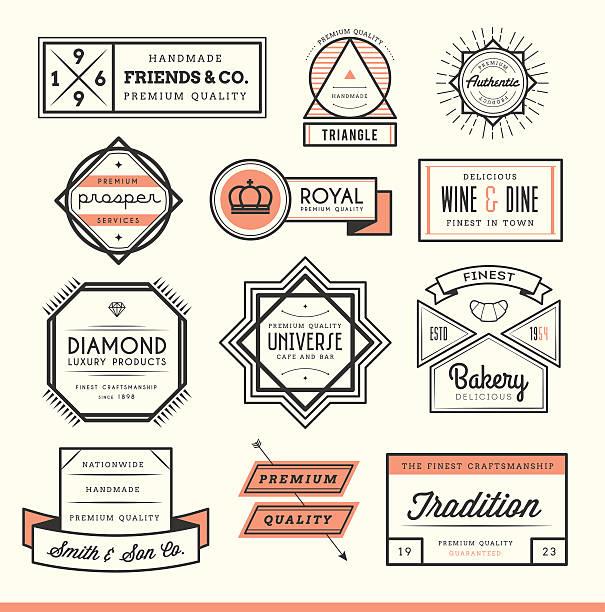 satz von vintage-etiketten, embleme und logos - hausgemacht stock-grafiken, -clipart, -cartoons und -symbole