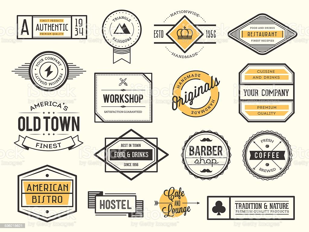 set of vintage logos, badges and labels vector art illustration