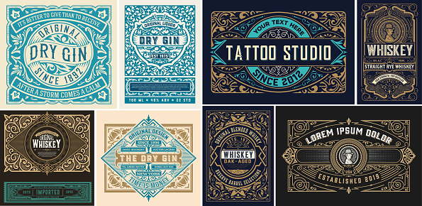 Set of vintage Logos organized by layers
