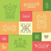 Set of  vintage logos, signs Hello Spring with swirls, leaves
