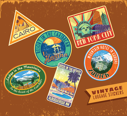 Set of fictitious luggage travel stickers from all over the world on aged leather texture.