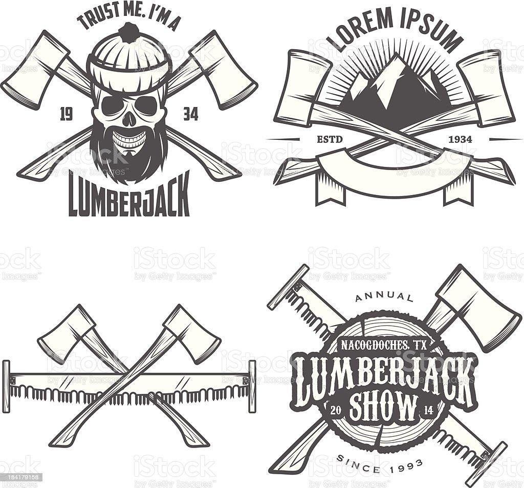 Set of vintage lumberjack labels, emblems and design elements vector art illustration