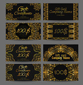 Set of vintage luxury gift certificates and vouchers with astract golden luxury pattern style jazz age. Vector element for your design