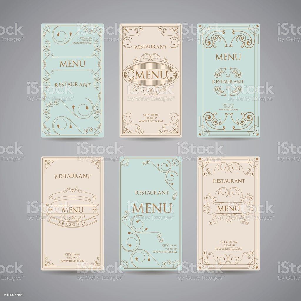 set of vintage luxury greeting restaurant menu design template stock