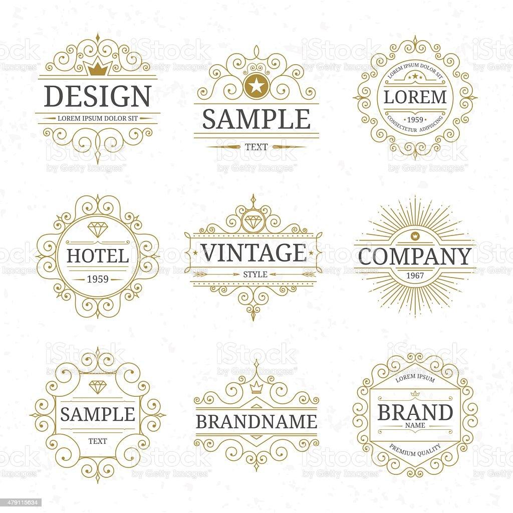Set of vintage luxury logo templates vector art illustration