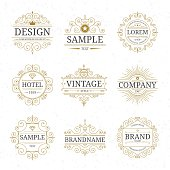Set of vintage luxury logo templates