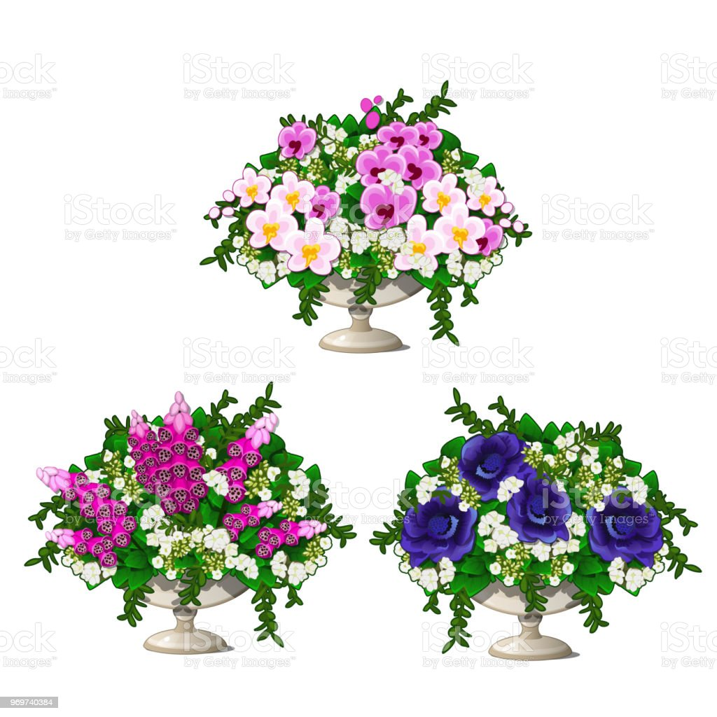 Set Of Vintage Marble Vase With Flowers Isolated On White Background