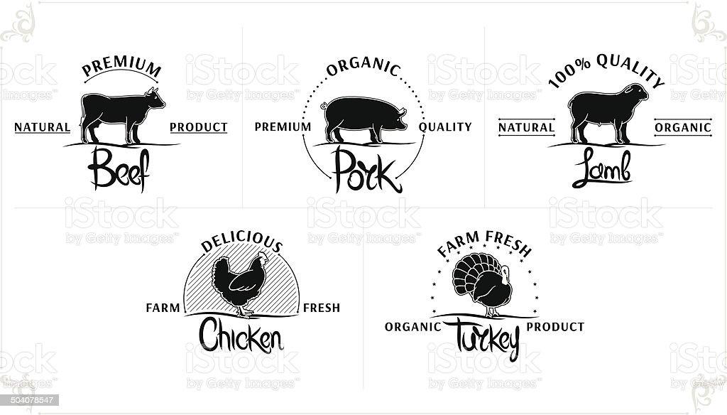 Set of Vintage Meat Labels vector art illustration