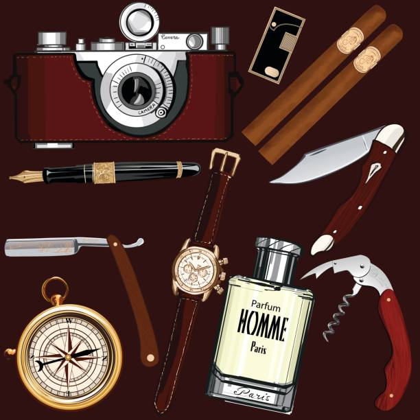 stockillustraties, clipart, cartoons en iconen met set of vintage men's accessories - guy with cigar