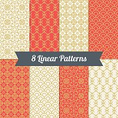 Set of vintage mono line seamless patterns