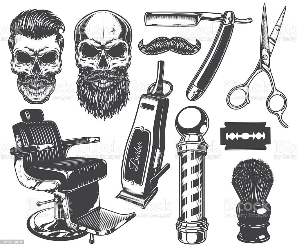 Set of vintage monochrome barber tools and elements. - Illustration vectorielle