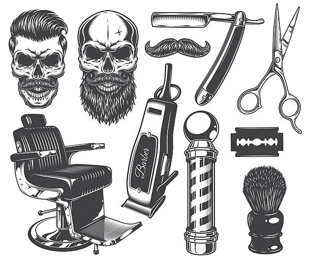 Set of vintage monochrome barber tools and elements. Set of vintage monochrome barber tools and elements. Isolated on white blade stock illustrations