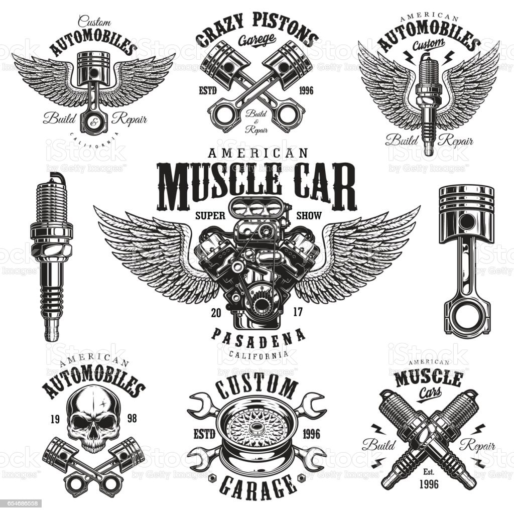 Set of vintage monochrome car repair emblems vector art illustration