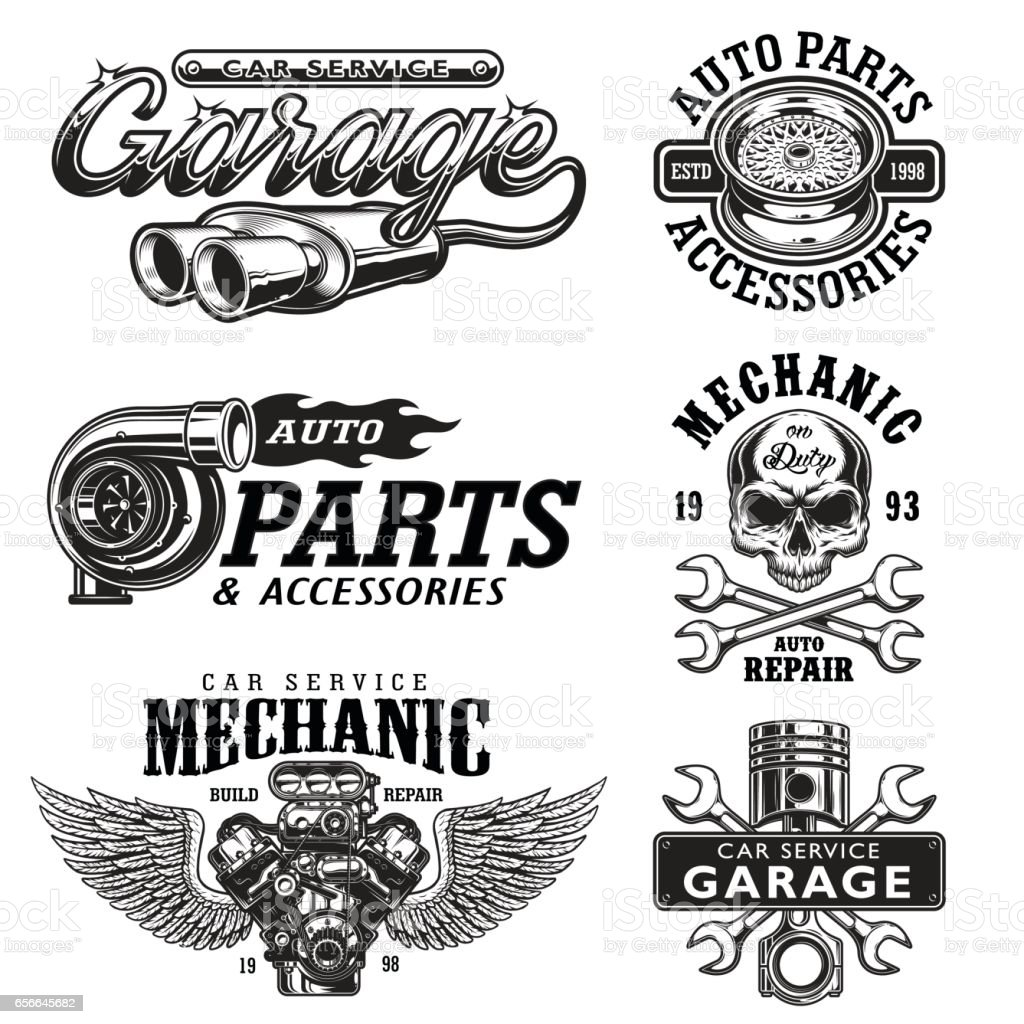 Set of vintage monochrome car repair emblems vector art illustration