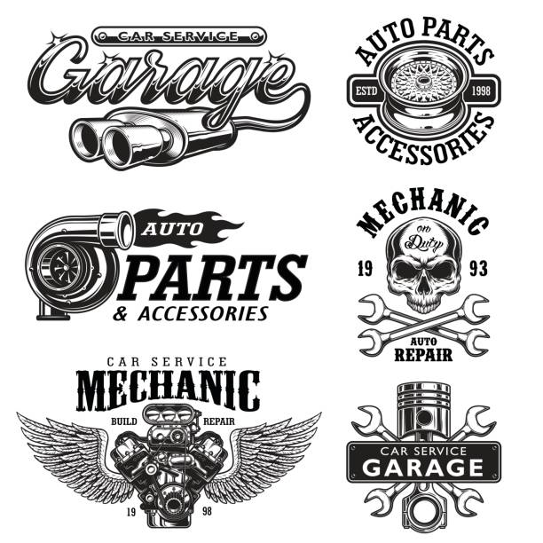 set of vintage monochrome car repair emblems - mechanic stock illustrations, clip art, cartoons, & icons
