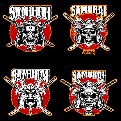 Set of vintage monochrome illustrations of samurai helmets and crossed swords. Design element for label, sign, poster, t shirt. Vector illustration