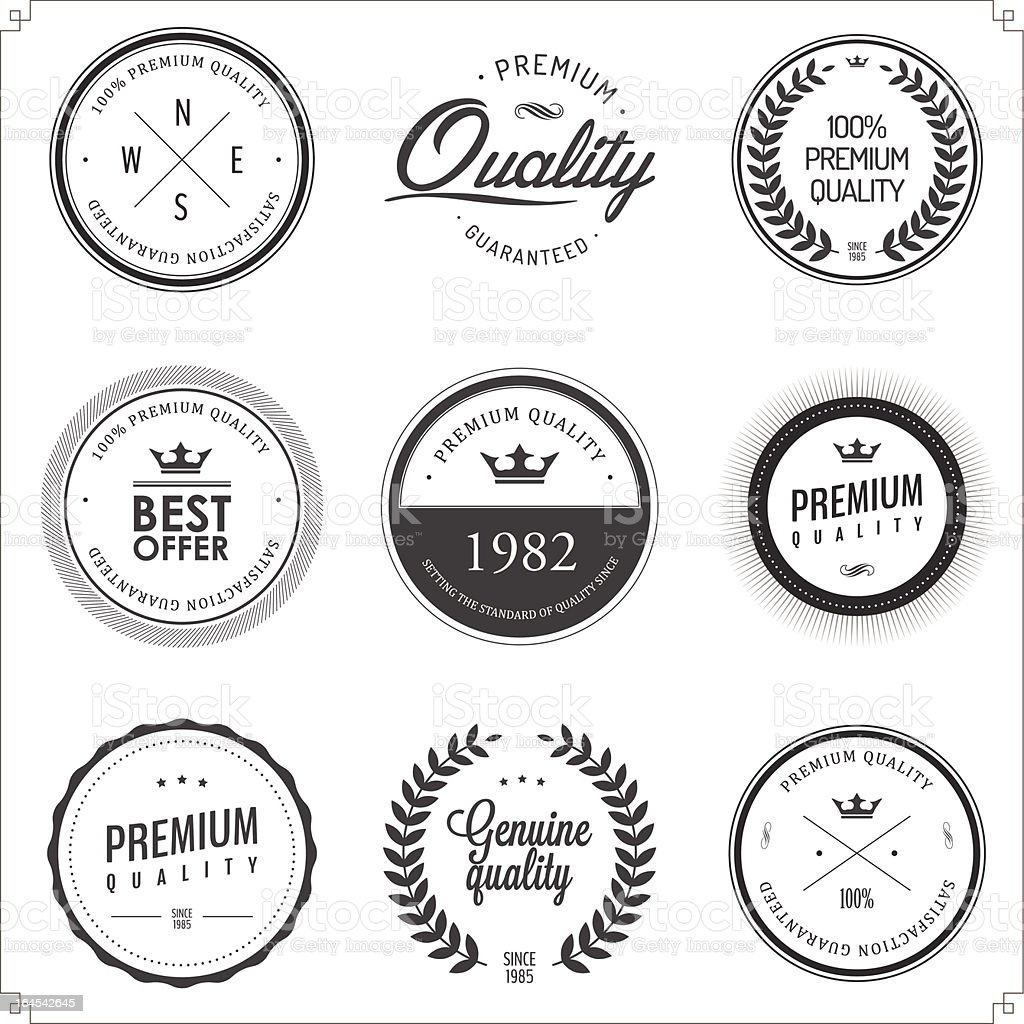 Set of vintage monochrome retail labels and badges royalty-free set of vintage monochrome retail labels and badges stock vector art & more images of advice