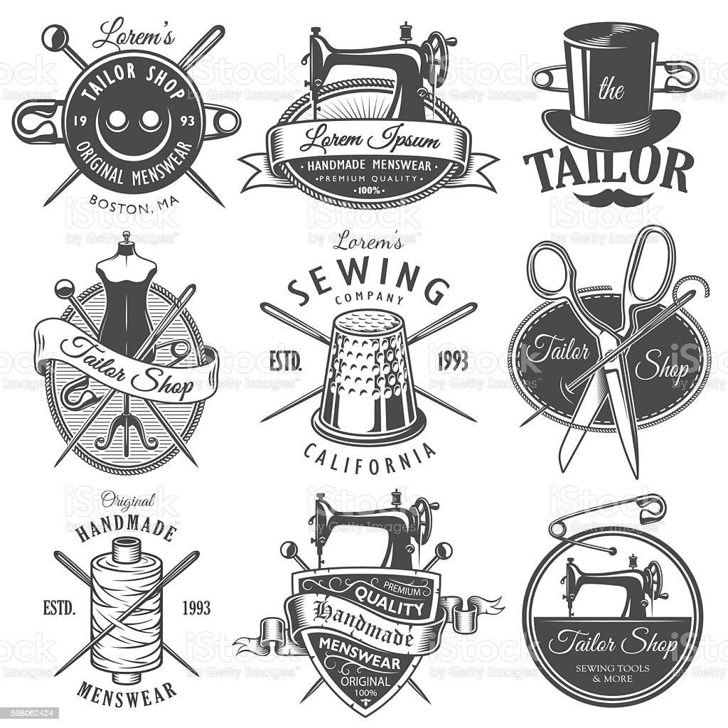 Set of vintage monochrome tailor emblems vector art illustration
