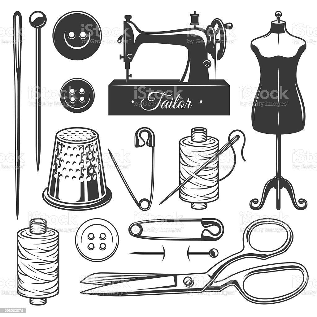 Set of vintage monochrome tailor tools. vector art illustration