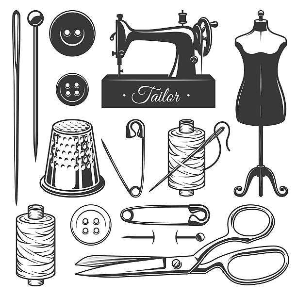Best Knitting Machine Illustrations, Royalty-Free Vector