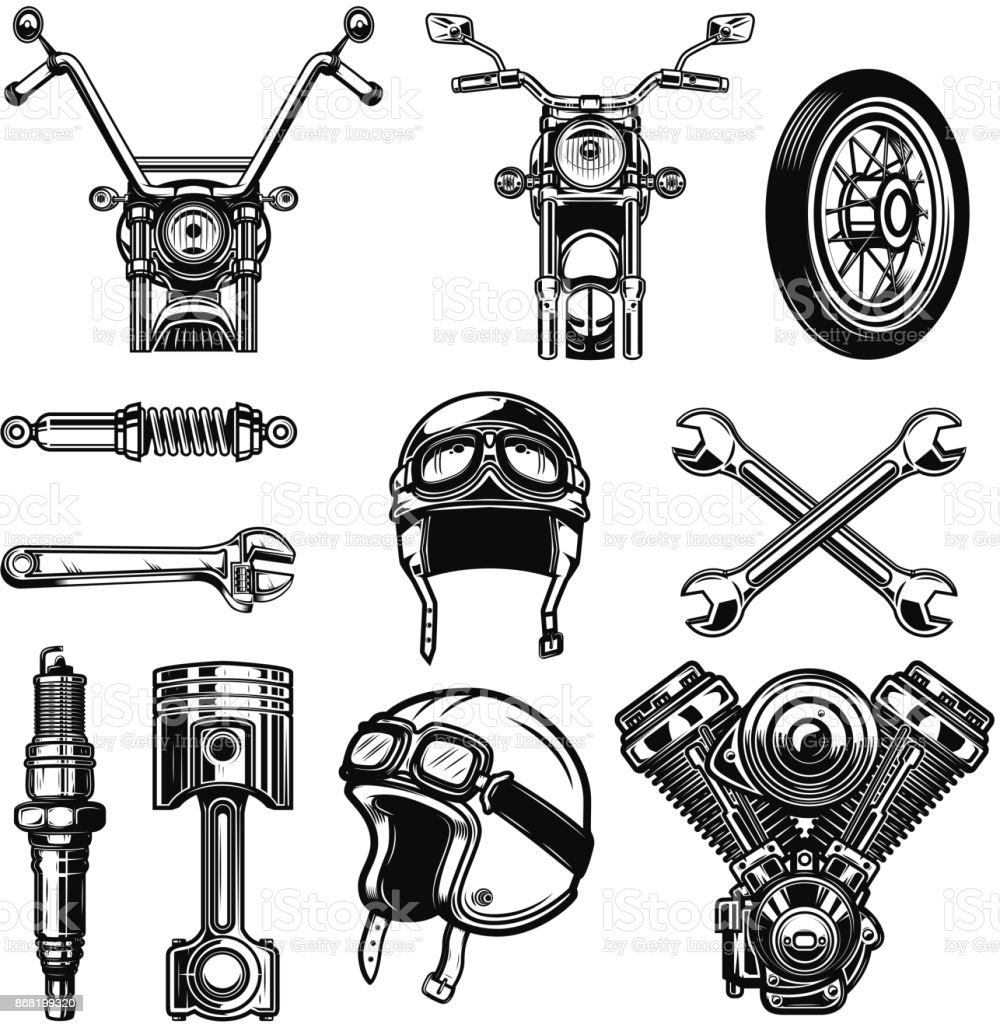 Set of vintage motorcycle design elements isolated on white background. royalty-free set of vintage motorcycle design elements isolated on white background stock illustration - download image now