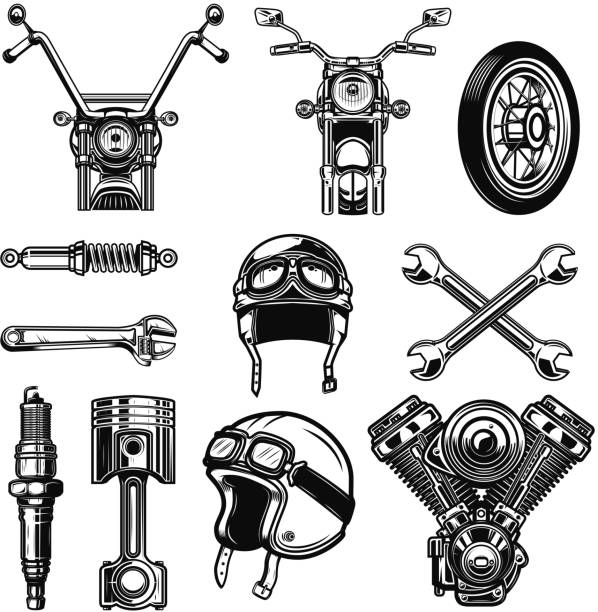 ilustrações de stock, clip art, desenhos animados e ícones de set of vintage motorcycle design elements isolated on white background. - helmet motorbike