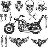 Set of vintage motorcycle design elements on white background. wheel, racer helmet, spark plug. Design elements for label, emblem, sign, badge. Vector illustration