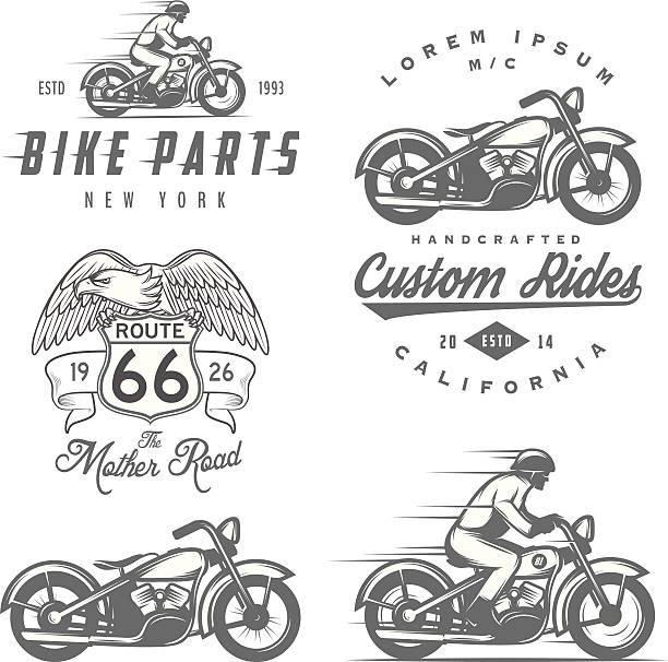 satz von retro motorrad etiketten, abzeichen und design-elemente - fahrzeug fahren stock-grafiken, -clipart, -cartoons und -symbole
