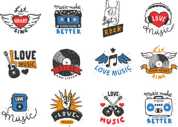 set of vintage musical labels hand drawn templates love musical elements for design vector illustration - skała stock illustrations