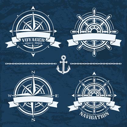Set of vintage nautical design elements