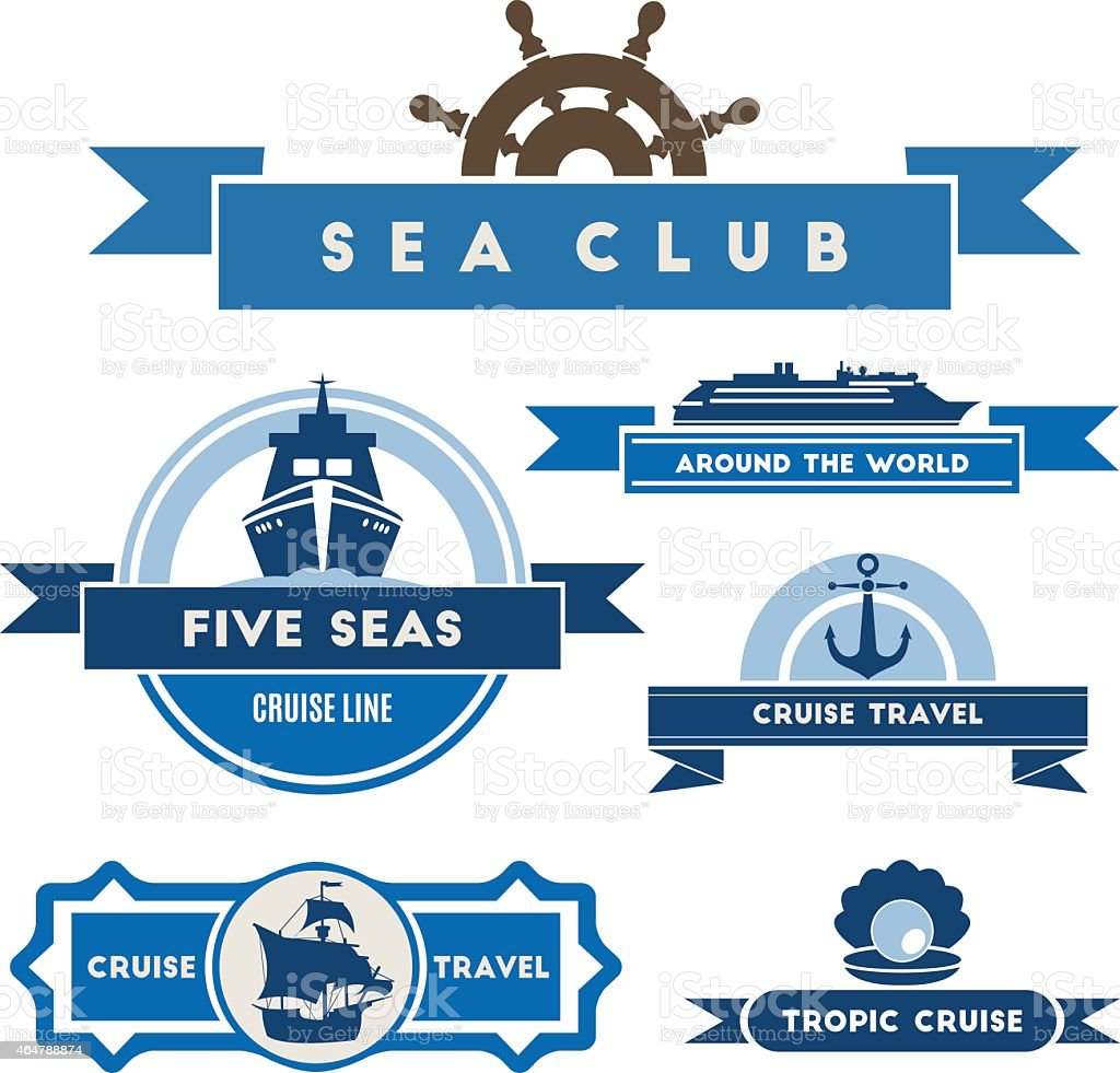 Set of vintage nautical labels and icons vector art illustration