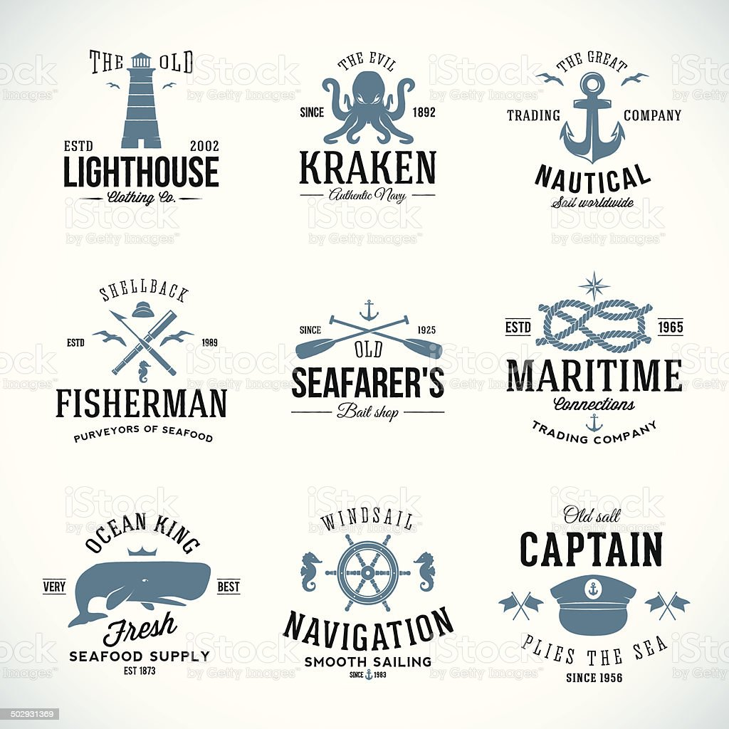 Set of Vintage Nautical Labels and Signs With Retro Typography vector art illustration