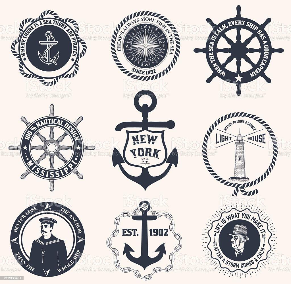 Satz von vintage nautische Etiketten, icons und design-Elemente – Vektorgrafik