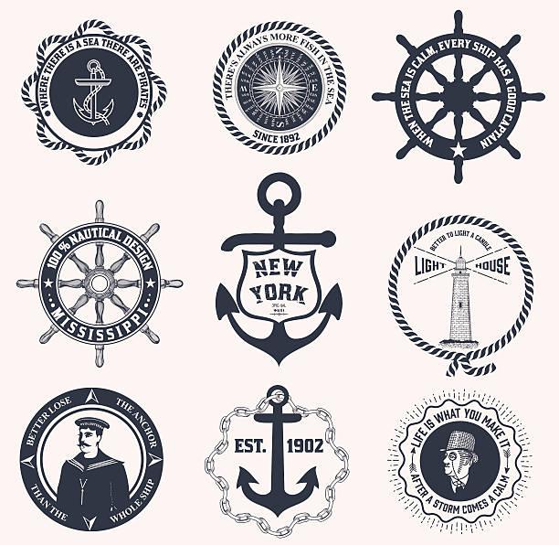 ilustraciones, imágenes clip art, dibujos animados e iconos de stock de conjunto de etiquetas vintage náuticas, iconos y elementos de diseño - tatuajes náuticos