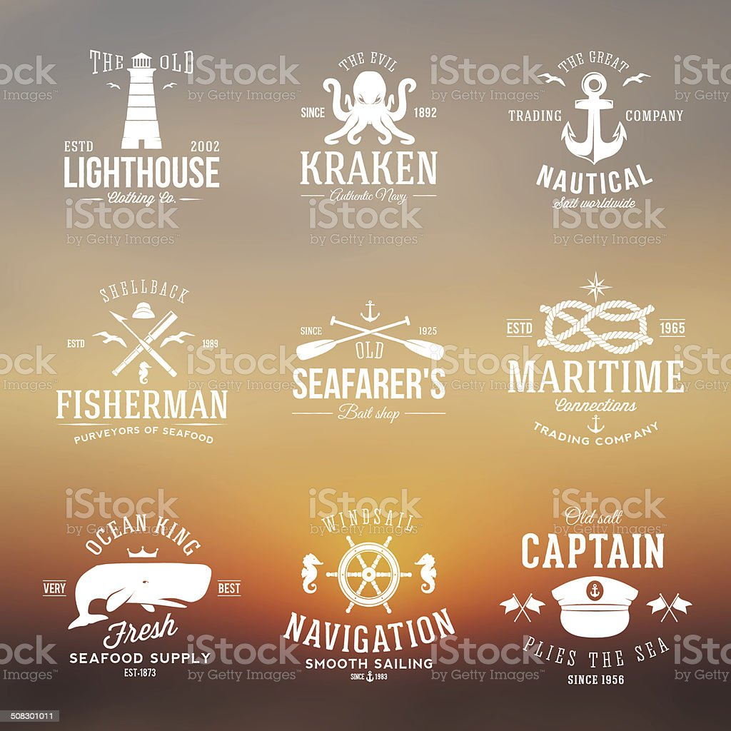 Set of Vintage Nautical Labels or Signs With Retro Typography vector art illustration
